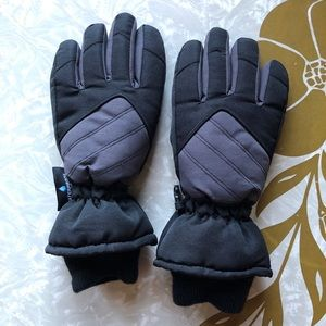 Black Gray Thinsulate Waterproof Winter Gloves